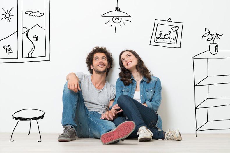 MBeD Imagem Namorados Que Sonham Juntos Casal Olhando Para Cima Ter Uma Ideia