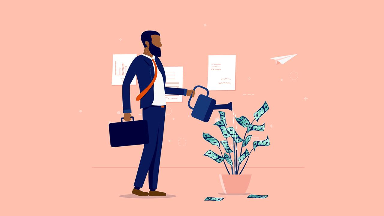 7 DICAS PARA CONQUISTAR A INDEPENDÊNCIA FINANCEIRA. Ilustração de homem negro regando uma árvore de dinheiro